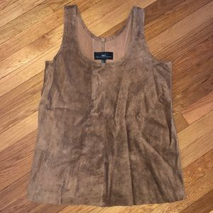 MNG Perforated Brown Genuine Leather Top MED